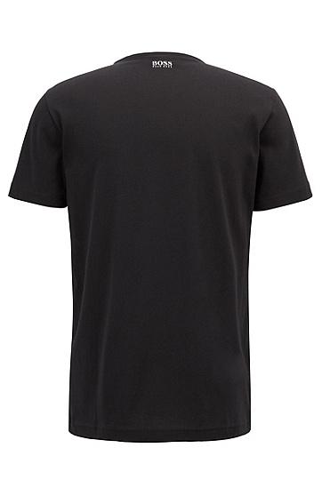 男士棉质字母LOGO短袖T恤,  001_黑色