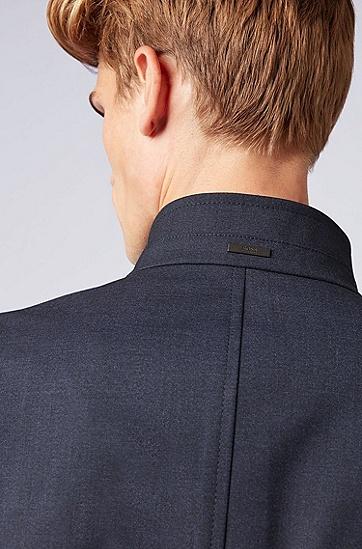 男士商务中长款立领西装外套,  480_淡蓝色