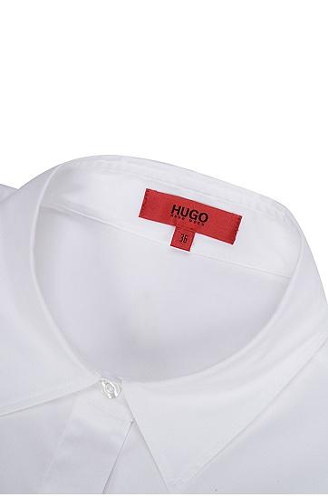 女士长款长袖衬衫式连衣裙,  199_淡白色