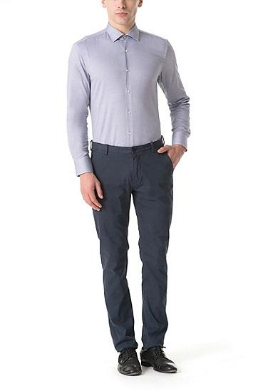 男士商务休闲修身版棉质长袖衬衫,  404_暗蓝色