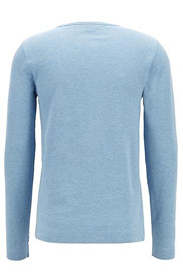 男士舒适休闲修身版棉质长袖T恤,  455_浅蓝色