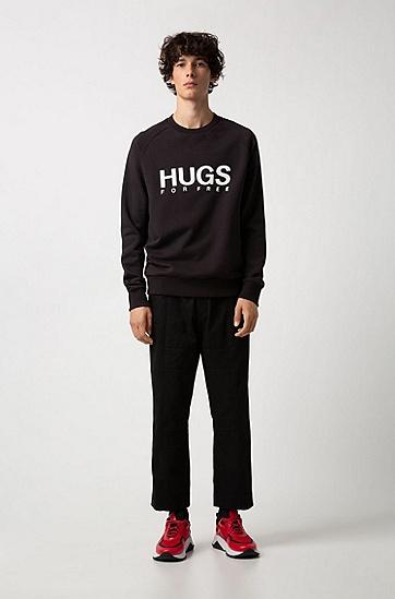 男士休闲字母印花长袖卫衣,  001_黑色