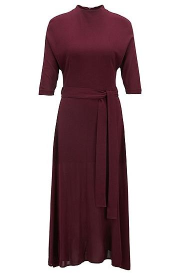 带可拆卸腰带的修身版柔软平纹单面针织布连衣裙,  659_暗粉色