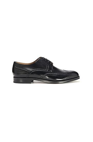 男士商务系带低帮皮鞋,  001_黑色