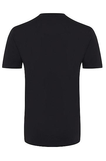 男士休闲LOGO印花短袖T恤,  402_暗蓝色
