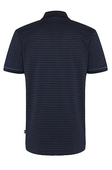 男士条纹时尚休闲短袖polo衫,  402_暗蓝色