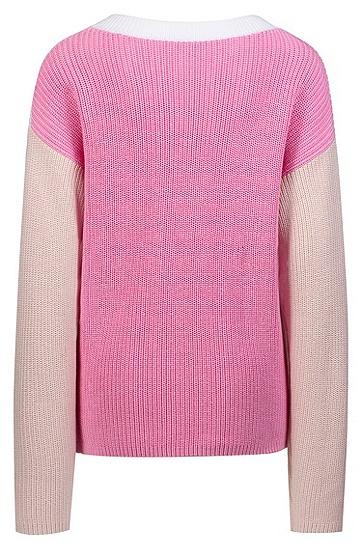 女士V领长袖针织毛衣,  962_多色