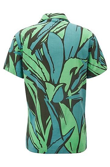 男士休闲短袖印花衬衫,  346_淡绿色