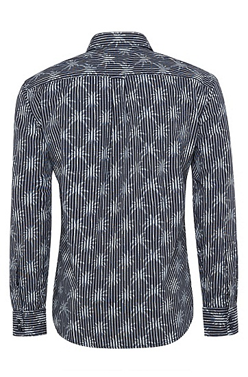 男士休闲印花衬衫,  404_暗蓝色