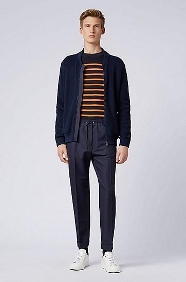 PORSCHE聯名款男士商務休閑長袖開衫針織毛衣,  402_暗藍色