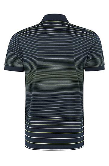 修身版条纹棉质polo衫,  410_海军蓝色