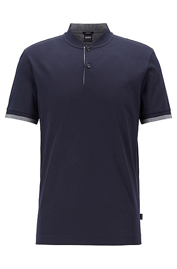 男士时尚休闲polo衫,  402_暗蓝色