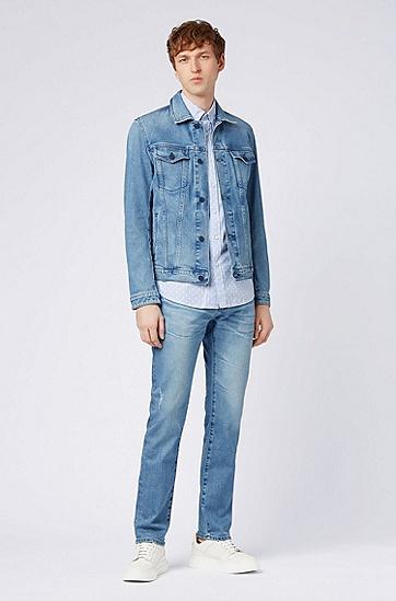 男士浅色休闲修身牛仔裤,  425_中蓝色