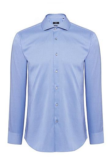 男士时尚商务休闲修身衬衫,  420_中蓝色
