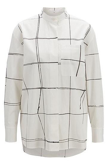女士商务休闲格纹长袖衬衫,  975_多色