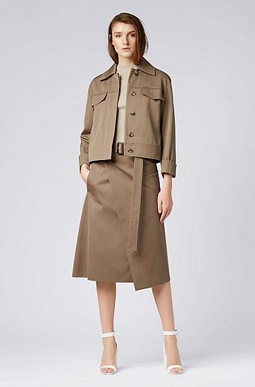 女士中长款腰带半身裙,  249_淡棕色