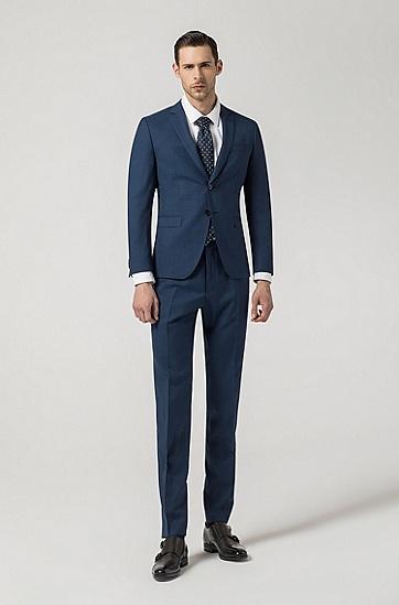 男士深蓝色修身商务羊毛西服套装,  419_海军蓝色