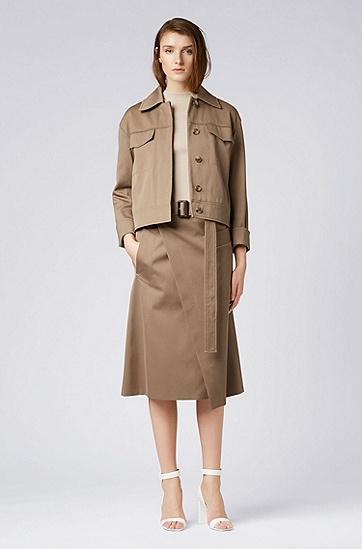 女士短款工装外套,  249_淡棕色