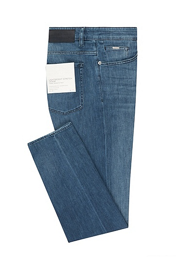 男士时尚休闲修身牛仔裤,  435_亮蓝色