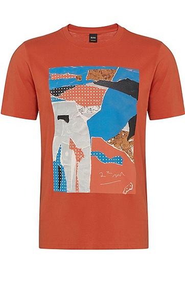 男士时尚休闲印花个性圆领短袖T恤,  805_暗橙色