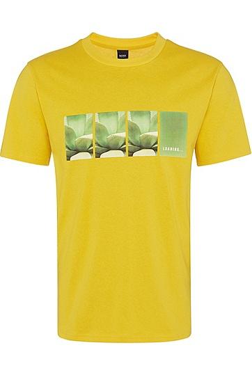 男士休闲时尚短袖印花T恤,  723_中黄色