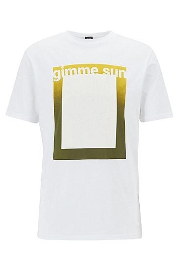 男士休闲短袖印花T恤,  100_白色