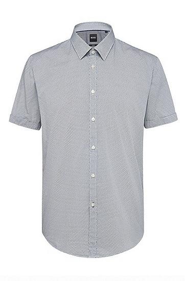 男士商务休闲修身纯棉短袖纯色衬衫,  275_浅米色