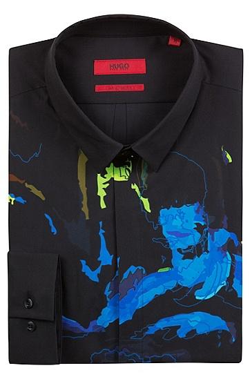 男士休闲印花长袖衬衫,  001_黑色