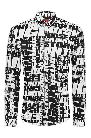男士印花时尚修身休闲纯棉长袖衬衫,  001_黑色