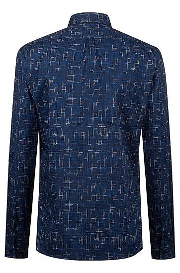 男士商务休闲长袖衬衫,  405_暗蓝色