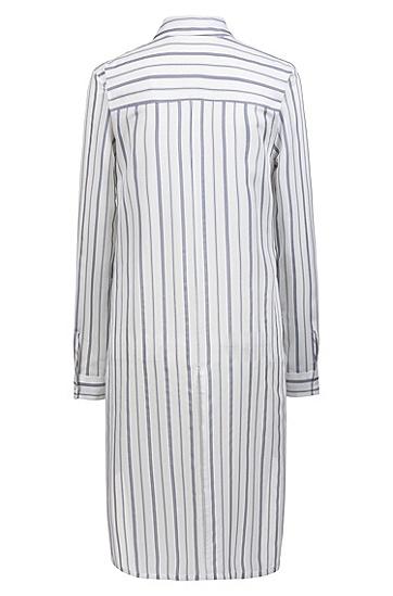 女士前短后长条纹长袖衬衫,  962_多色