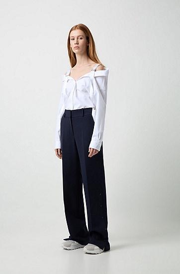 女士露肩长袖衬衫,  199_淡白色