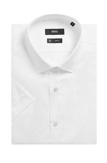 男士商务休闲修身纯棉短袖衬衫,  100_白色