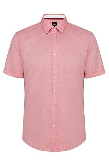 男士时尚休闲短袖衬衫,  625_亮红色