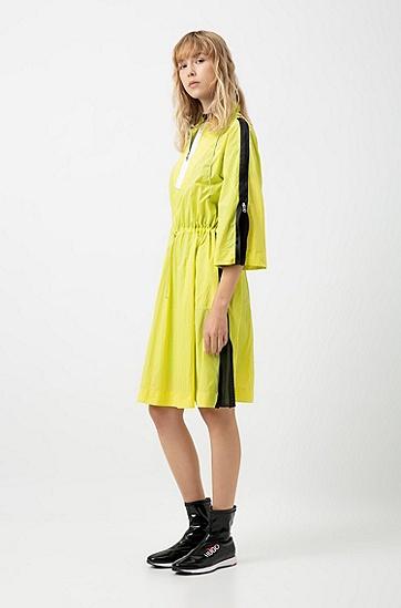 女士七分袖风衣式连衣裙,  731_亮黄色