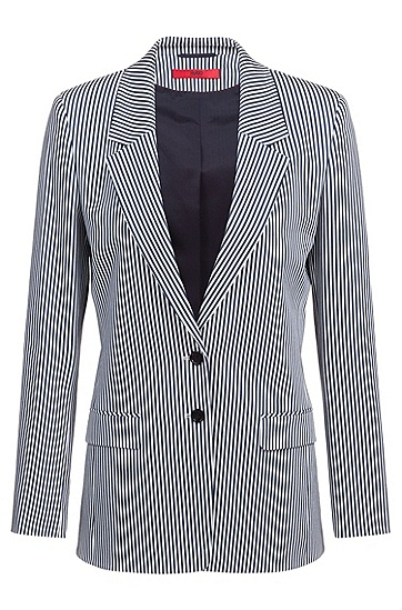 女士条纹收腰西装外套,  964_多色