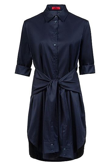 女士五分袖系带连衣裙,  464_淡蓝色