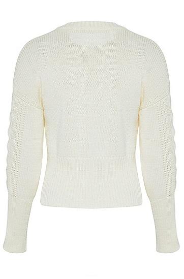 女士时尚休闲修身针织衫,  118_淡白色
