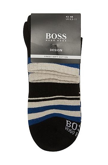 男款休闲条纹时尚1双装中筒袜,  001_黑色