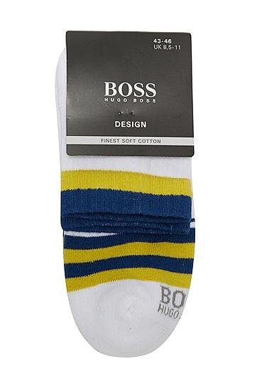 男款休闲条纹时尚1双装中筒袜,  100_白色