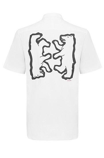 男士时尚休闲清新百搭短袖衬衫,  199_淡白色