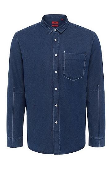 男士休闲原色牛仔衬衫,  405_暗蓝色