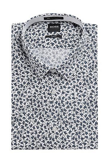 男士休闲碎花棉质短袖衬衫,  402_暗蓝色