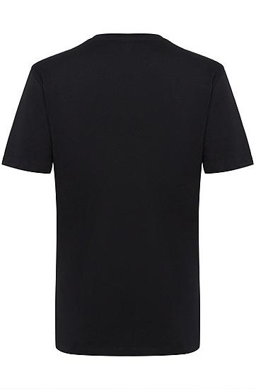 男士休闲印花T恤,  001_黑色