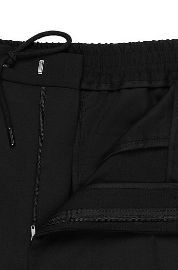 男士直筒系带休闲裤长裤,  001_黑色