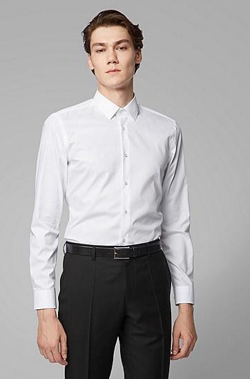 男士商务休闲方领长袖衬衫,  100_白色
