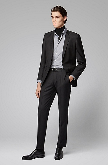男士商务方领长袖棉质格子衬衫,  001_黑色