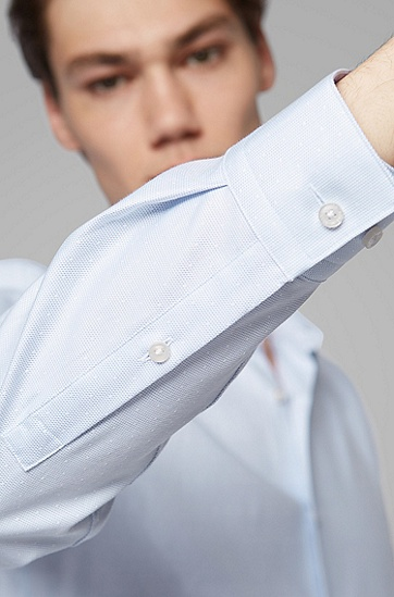 男士经典方领长袖全棉衬衫,  450_浅蓝色