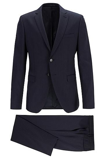 男士商务休闲条纹西服套装,  402_暗蓝色