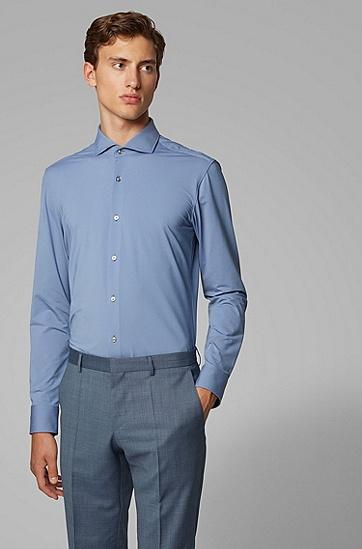 男士商务长袖棉质衬衫,  410_海军蓝色
